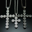 Delicate Cubic Cluster Flower Cross Silver Pendant Chain Necklace Long Jewelry
