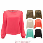 LADIES CHIFFON LONG SLEEVE LEOPARD PRINT BLOUSE DRESS WOMENS KEYHOLE TOP 8-16