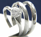 0.84 CT Clear Solitaire CZ 316L Stainless Steel Engagement Wedding Band Ring Set