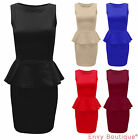 LADIES WOMENS SLEEVELESS TAILORED FRILL SHIFT SMART PEPLUM BODYCON DRESS 8-14