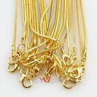 """10-50pcs 16"""" Gold Plated Snake Chain Necklace with Lobster Clasp 41CM"""