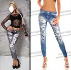 Fashion Sexy Ladies  Women Nightclub  Slim Fit  Hole Jean  Leggings