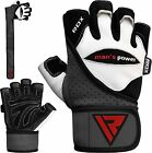 Auth RDX Gel Weight Lifting Body Building Pro Gloves Gym Straps Bar Leather CA