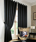 Heavy Jacquard Curtains Black Faux Silk Eyelet Ready Made Ring Top Lined Curtain