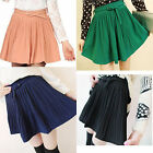 Women's Retro High Waist Thick Chiffon Pleated Short Mini Skirts Dress with Belt