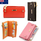 Soft Genuine Leather Double Zip Ladies Womens Bifold Wallet iPhone Purse