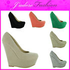 NEW LADIES HIGH HEEL ROUND TOE WEDGE SLIP ON  COURT SHOES SIZES UK 3-8