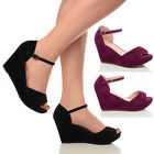 WOMENS LADIES PLATFORM WEDGE PEEP TOE STRAP HIGH HEEL SUMMER SANDALS SIZE