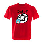 DAD OF THINGS 1 & 2  RED DR SEUSS T SHIRT cat in the hat All Adult Sizes