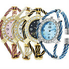 Women Lady Girls Classic Colorful Golden Quartz Watch Bracelet Steel Nice Gift