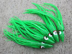 """Lot Of 5 Hoochie Squid Skirts Un Rigged Fishing Lures 5"""" Green"""