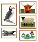 Scottish Cross Stitch Kits - Loch Ness Monster Sheep Highland Cow Puffin & Seal