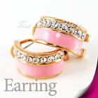 Pink 18K GP Colorful Stud Earring Use Swarovski Crystal 2209-2213 Free Pouch
