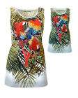 Womens Vest Top Sleeveless Tropical Parrot Turquoise White Ladies New Sz 8-14