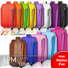LEATHER PULL TAB SKIN CASE COVER POUCH AND STYLUS PEN FITS VARIOUS APPLE MOBILES