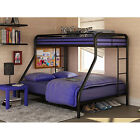 NEW Dorel Twin Over Full Metal Bunk Bed Dorm Furniture Front Ladder Dorm Steel