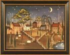VILLAGE NIGHT by Kim Lewis FRAMED PRINT 15x19 Saltbox Houses Moon Stars Picture