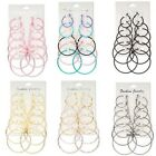 Lot of 6 Pair Assorted Size Round Hoop Earrings with Latch Closure Small - Big