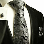 627CH/ Silk Necktie Set by Paul Malone . Black and Silver Paisley