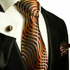 751CH/ Silk Necktie Set by Paul Malone . Brown and Gold