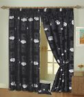 High Quality Black Lined Curtains With Black & Silver Raised Roses. 8 Sizes.NEW!