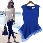 Women's Vintage Peplum Tank Tops Frill Fitted Shirt Party Tails Chiffon Blouse