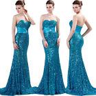 Stock Sweetheart Shinning Sequins Full Length Ball Gown Evening Prom Party Dress
