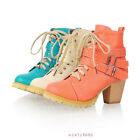 Women's Winter Warm Mid Heels Ankle Lace Up Shoes Platform Boots US ALL Sz Y265