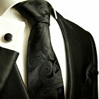 815CH/ Silk Necktie Set by Paul Malone . Black Paisley