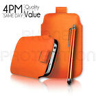 PU Leather Pull Tab Pouch Case Cover & Stylus for Various Motorola Mobiles
