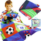 KIDS BOYS FOOTBALL SNUGGLE WRAP SOFT FLEECE BLANKET CUDDLE SNUGGIE SNUG COSY CAR