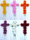 18in/46cm Cross with 10cm Mum / Chrysanthemum Memorial Silk Artificial Flowers