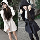 Women's Vintage Hooded Coat Trench Jacket Outerwear Dress Style Tops 2 Colors