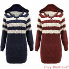 LADIES HOODED PULLOVER STRIPED CABLE KNITTED WOMENS CHUNKY TOP SWEATER JUMPER