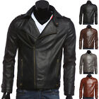 Men Cool Strong Motorcycle Punk Jacket Slim Fit Faux Leather Casual Coat Sz XS-L