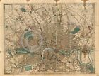 1858 LARGE CITY PLAN WALL MAP LONDON ENGLAND UK
