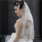 New White / Ivory Wedding Bridal Tulle Veil Elbow Length Beaded 2 Tier with Comb