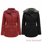 LADIES BRAVE SOUL QUILTED PADDED FUR COLLARED WOMENS BELTED COAT JACKET 8-16