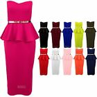 Women's Belted Boobtube Sleeveless Frill Peplum Ladies Midi Bodycon Dress