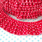 POLKA DOT PLEATED GATHERED TRIM EDGING RIBBON PLISSE red