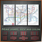 London Tube Map Modern Contemporary Wall Art Framed Canvas Print ~ 3pc More Size