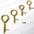 100x TINY SMALL BRASS STEEL PICTURE WIRE FRAME SCREW EYE HOOK Mini  Hanging Ring