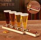 PERSONALIZED WOODEN BEER FLIGHT TESTING SET - INCLUDES FOUR PILSNER GLASSES!