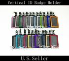 Multi-Color Vertical Rhinestone ID Leather Badge Holder with Alligator Clip