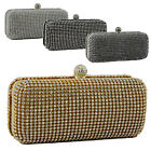 New Diamante Beaded Wedding Evening Clutch Bag Hard Case Box Prom Elegant Bride