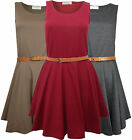 Dress for Womwn Skater Tan Waist Belt Scoop Neck in Wine Brand New Size 6-12