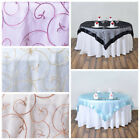 """1 pc 85x85"""" Embroidered Sheer Organza Table OVERLAY Wedding Party Decorations"""