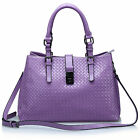 New Women's Genuine Leather Handbag Shoulder Bag Tote Shopper Black Purple Brown