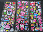 3x SHEET COLOUR GIRLY FASHION CUTE BEAR BUNNY 3D PUFFY RE-USE STICKERS UK SELLER