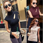 Fashion High Neck Bottoming Hollow Sexy Sleeveless Vest Tops Casual Club T-shirt